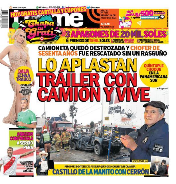 Portada Trome: LO APLASTAN TRÁILER CON CAMIÓN Y VIVE