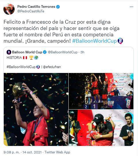 "Pedro Castillo felicita a Francesco de la Cruz por ganar mundial de globos: ""¡Grande, campeón!"""