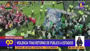 Colombia: Hinchas protagonizan brutal pelea dentro del campo de juego