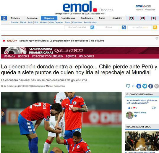 Medios chilenos fueron lapidarios con su selección tras derrota ante Perú. Foto: Captura.