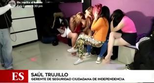 Treinta intervenidos en prostíbulo clandestino en el límite de Los Olivos e Independencia