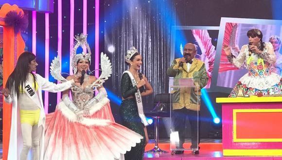La 'Uchulú' luce el traje típico de Perú en el Miss Universo frente a Janick Maceta. (Foto: Instagram)