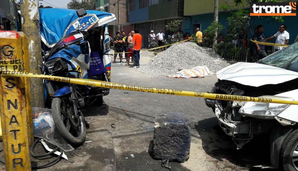 Enfermera presuntamente ebria pierde el control de su auto, mata a anciano y deja graves a tres. Foto: Trome   Mónica Rochabrum