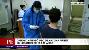 Digemid aprobó la aplicación de vacuna Pfizer para adolescentes de 12 a 15 años en Perú