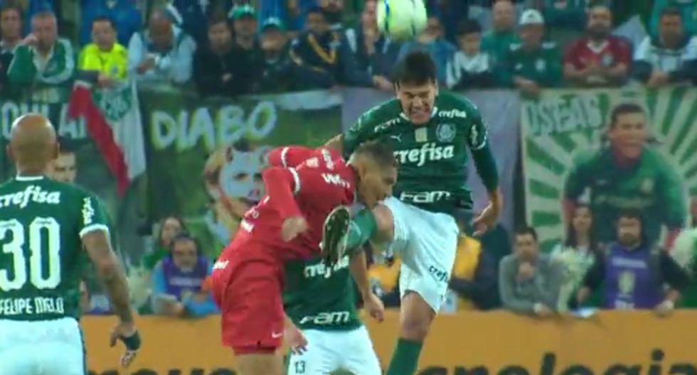 Paolo Guerrero recibió brutal patada en la cara en el Internacional vs Palmeiras por Copa de Brasil