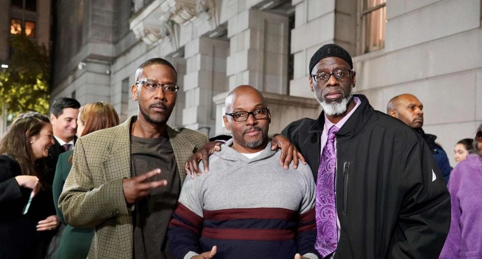 "(From L to R)  Alfred Chesnut, Andrew Stewart and Ransom Watkins pose for a photo after their liberation in Baltimore on November 258, 2019.                                Three Baltimore men who spent 36 years in prison were exonerated on Monday of the 1983 murder of a teenage boy who was shot dead over a jacket. Alfred Chestnut, Andrew Stewart and Ransom Watkins were serving life sentences for the shooting of DeWitt Duckett, a 14-year-old student at Harlem Park Junior High School in West Baltimore. ""These three men were convicted, as children, because of police and prosecutorial misconduct,"" Baltimore state's attorney Marilyn Mosby said after the three were formally exonerated by a city circuit court judge and released from prison.   - RESTRICTED TO EDITORIAL USE - MANDATORY CREDIT ""AFP PHOTO / MIAP/Todd KIMMELMAN"" - NO MARKETING - NO ADVERTISING CAMPAIGNS - DISTRIBUTED AS A SERVICE TO CLIENTS  / AFP / MIAP (Mid-Atlantic Innocence Project) / Todd Kimmelman / RESTRICTED TO EDITORIAL USE - MANDATORY CREDIT ""AFP PHOTO / MIAP/Todd KIMMELMAN"" - NO MARKETING - NO ADVERTISING CAMPAIGNS - DISTRIBUTED AS A SERVICE TO CLIENTS"