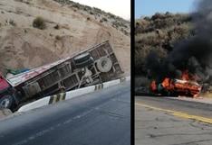 Arequipa: Camión cae a zanja y vehículo se incendia en plena carretera | VIDEO