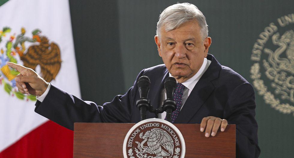El presidente de México, Andrés Manuel López Obrador (AMLO), es visto hablando durante su conferencia de prensa diaria. (Foto: AFP/Herika Martínez).