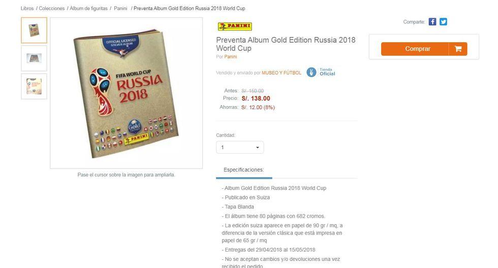 Álbum Panini Gold Edition ya se vende en el Perú y este es el precio