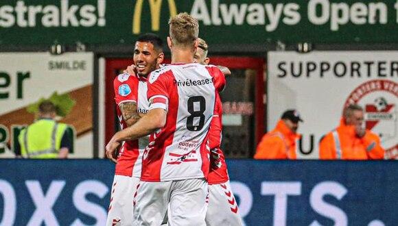 Sergio Peña le dio el triunfo a FC Emmen en el fútbol de Holanda. (Foto. FC Emmen)
