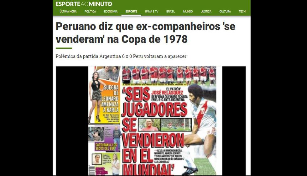 Entrevista de Trome a José Velásquez salió en portadas deportivas internacionales.