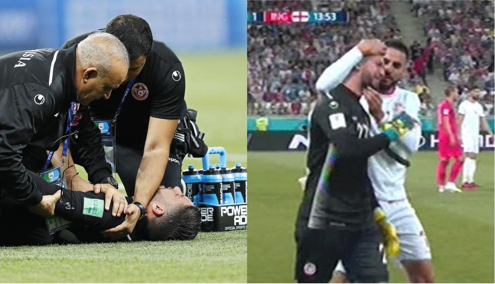 Inglaterra vs Túnez: Lesión de Hassen. [FOTOS: Agencias]
