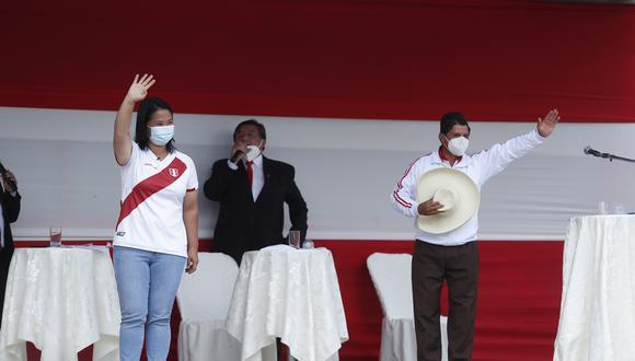 Keiko Fujimori y Pedro Castillo debatirán presencialmente en un evento organizado por el JNE el domingo 30 de mayo. (Foto: Archivo GEC)