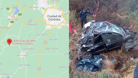 En el vehículo siniestrado viajaban cuatro personas, de las cuales solo dos de ellas sobrevivieron.   Crédito: Policía de Córdoba / Google Maps