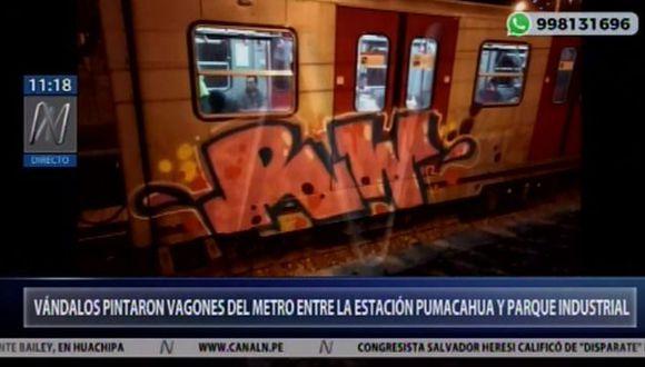 Vándalos pintaron vagones del Metro de Lima entre las estaciones Pumacahua y Parque Industrial (Captura: Canal N)