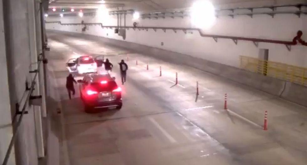 Las cámaras del túnel de Línea Amarilla grabaron el asalto. (Twitter)