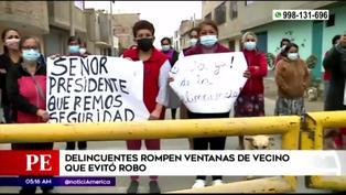 Delincuentes rompen ventanas de vecino que evitó robo en San Martín de Porres