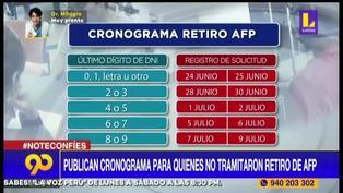 Retiro de AFP: mira el nuevo cronograma para quienes no tramitaron a tiempo