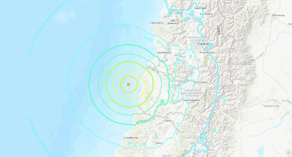 El Servicio Hidrográfico Y Oceanográfico de La Armada (SHOA) descartó la amenaza de un tsunami en las costas de chilenas. (Foto: USGS)