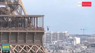 Escalofriante hazaña: Equilibrista caminó en la cuerda floja a 70 metros de altura en París