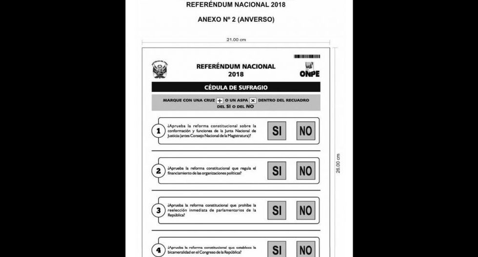 Esta es la cédula manual para el Referéndum 2018 que se llevará a cabo el 9 de diciembre. (Foto: El Peruano)