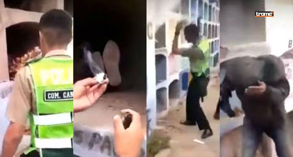 Policías se burlan de indigente que dormía en nicho y llenan de humo la tumba hasta casi asfixiarlo en SJL (TROME)
