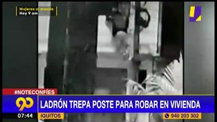 Iquitos: sujeto trepa poste para ingresar a robar en una vivienda