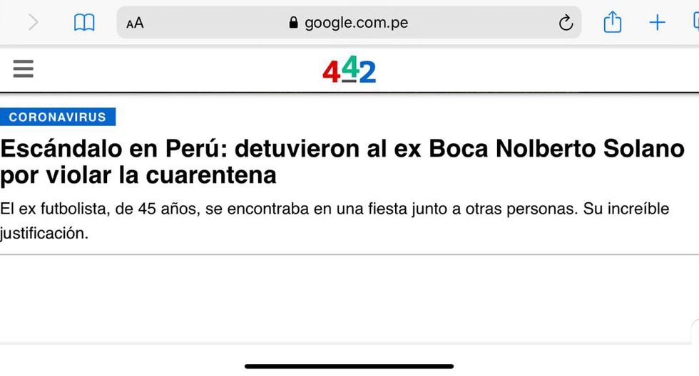 La reacción de la prensa internacional tras lo sucedido con Nolberto Solano. (Captura)