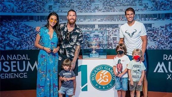 Sergio Ramos visita academia de Rafael Nadal junto a sus hijos (Foto @sergioramos)