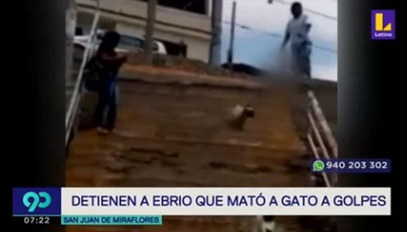 Pablo Elías Ticona agredió sin piedad a un gato en Pamplona Alta. (Foto captura: Latina)