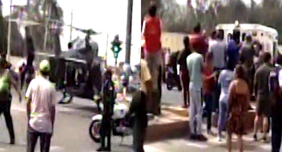 Delincuentes balean a policía para robarle su auto en Collique (TROME)