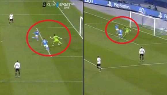Blooper descomunal del arquero del Genk: Hizo el ridículo y provocó gol de Napoli en Champions