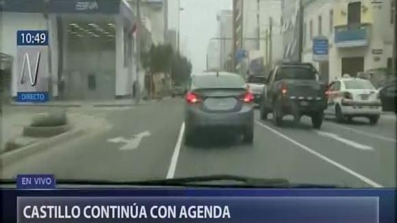Pedro Castillo se trasladó desde Breña hasta la Contraloría. (Canal N)