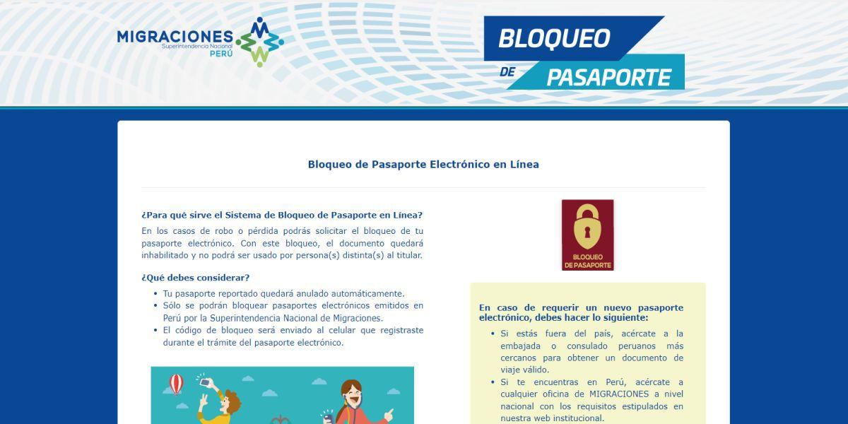 """Para bloquear tu pasaporte debes acceder a la plataforma virtual """"Bloqueo de Pasaporte"""" que administra Migraciones (Imagen: Migraciones)"""