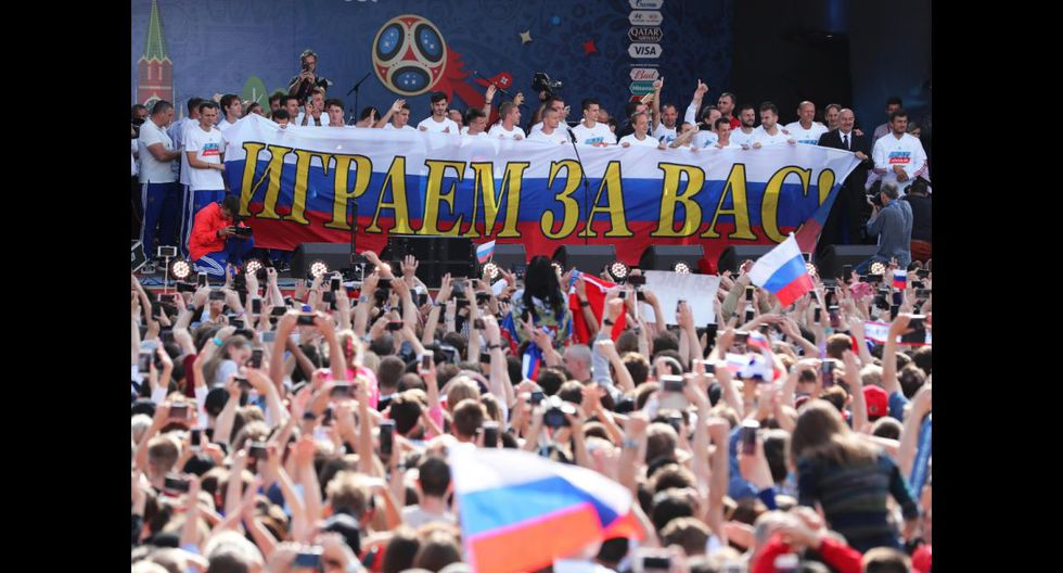 Selección de Rusia recibe épico homenaje en Fan Zone de Moscú tras destacada participación en Mundial 2018