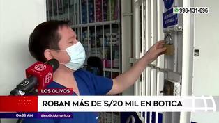 Loa Olivos: delincuentes rompen rejas y se roban más de 20 mil soles en farmacia
