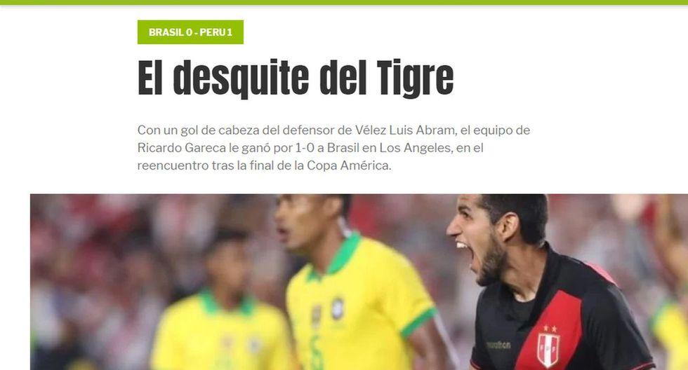 """Perú se impuso 1-0 en el estadio Memorial Coliseum de Los Ángeles con gol de Luis Abram sobre la hora. """"El desquite del Tigre"""", publicó Olé."""