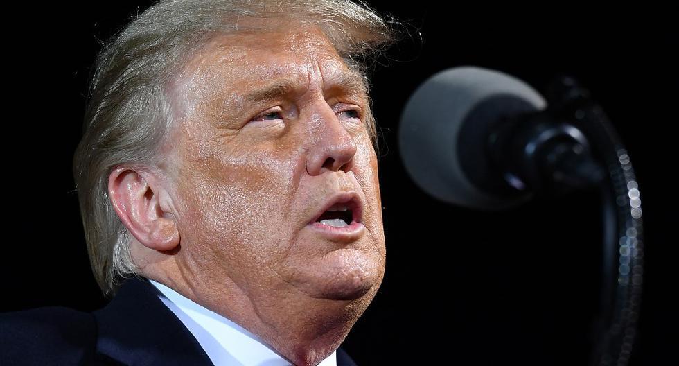 El presidente de Estados Unidos, Donald Trump, habla durante un mitin de campaña en Minnesota. (MANDEL NGAN / AFP).
