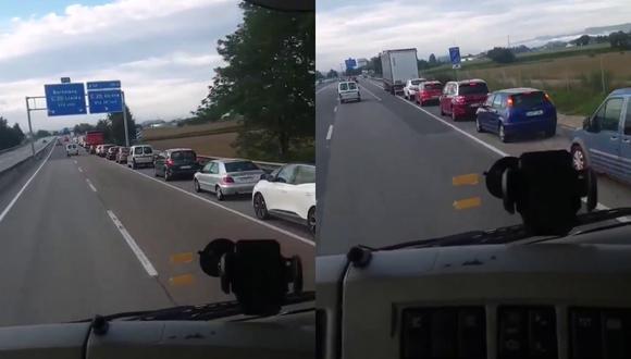 Un video viral muestra cómo un camionero se burla de los conductores atrapados en una falsa congestión vehicular en una carretera de España. | Crédito: @etfelicitofill / Twitter.