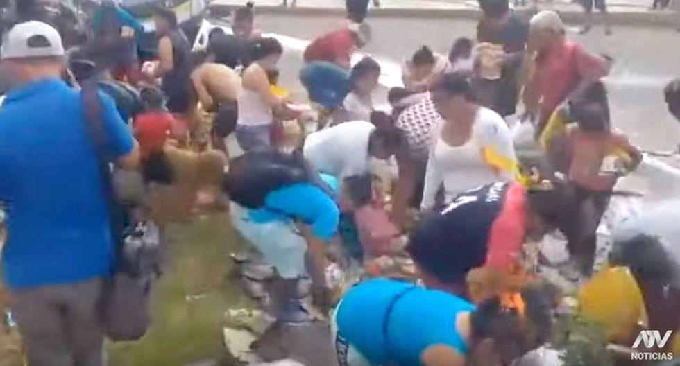 Indignación por decenas de personas que saquean camión de la tragedia en la que murieron padre e hijo de 8 añitos   TROME