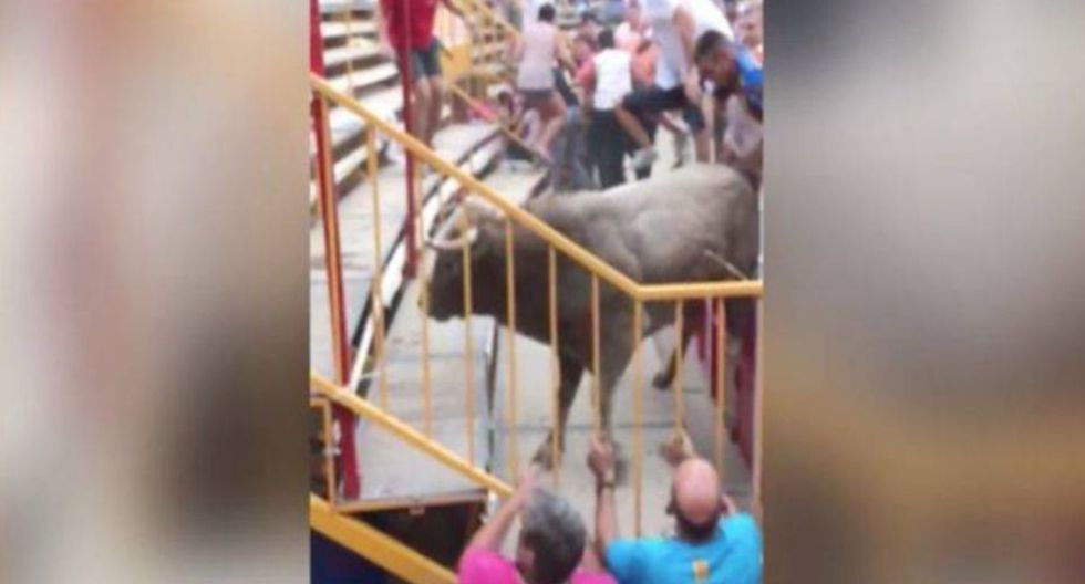 Toro saltó la valla y dejó 17 personas heridas, en Girona. (Capturas: YouTube)