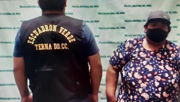 Carmen Milagros Flores Saavedra (33), 'Big mama', quien se pasea por las calles completamente desnuda para robar, fue detenida por policías del Grupo Terna (Escuadrón Verde).