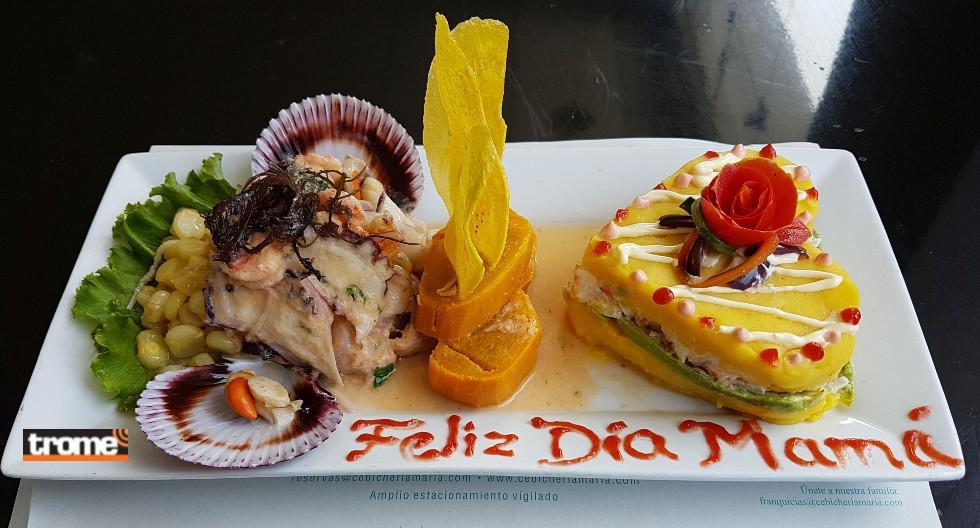 Restaurante cebichería  'María Pastor' ofrece cebiches, jaleas, arroz con mariscos, parihuelas y más para mamá. (Isabel Medina / Trome)