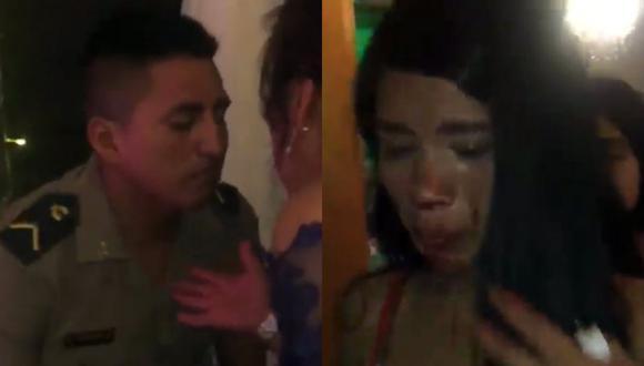 Policía con uniforme le rompe la nariz a su enamorada en plena calle | TROME