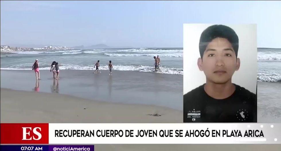 Un bañista de la zona encontró el cuerpo del joven  Jhon Huancahuari al promediar las 10 a.m. (Foto captura: América Noticias)