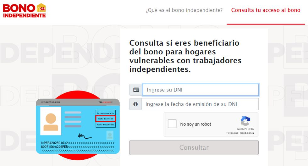 Link web Bono independiente de 380 soles