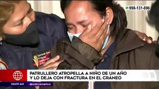 Patrullero arrolla a niño de un año y lo deja con fractura en el cráneo