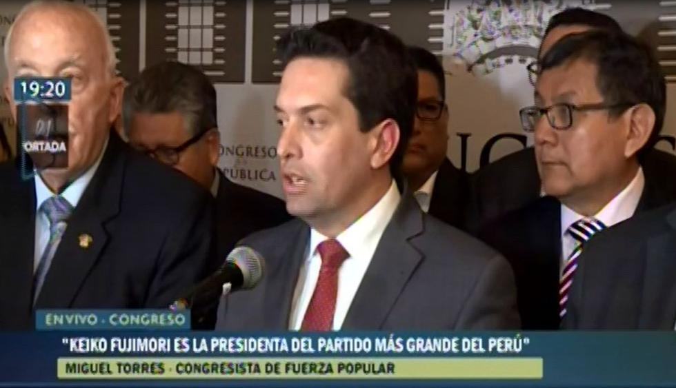 """Miguel Torres dijo que Keiko Fujimori sacrificó """"la vida por todos los peruanos"""". (Capturas: Canal N)"""