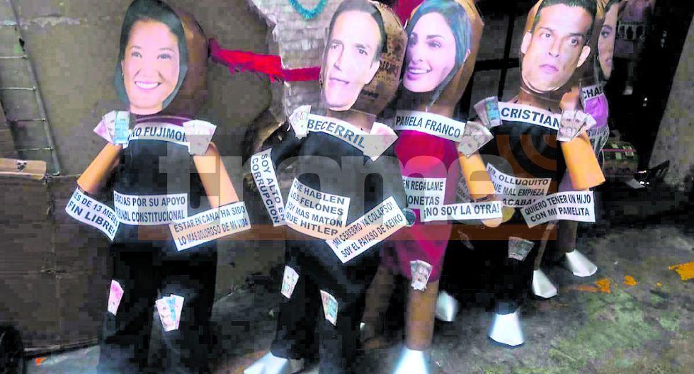 Piñatas de Keiko Fujimori y Mark Vito en el Mercado Central