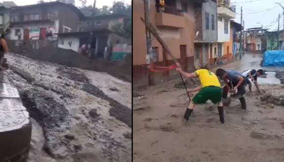 Barro y escombros vienen siendo retirados a mano por pobladores y personal municipal (Foto: Difusión)